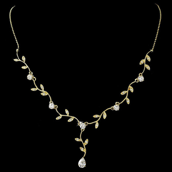 Lovely Gold Clear Cubic Zirconia Vine Necklace 2014