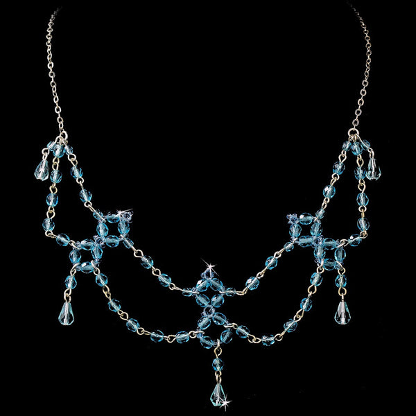 * Aqua Swarovski Crystal Necklace N 240