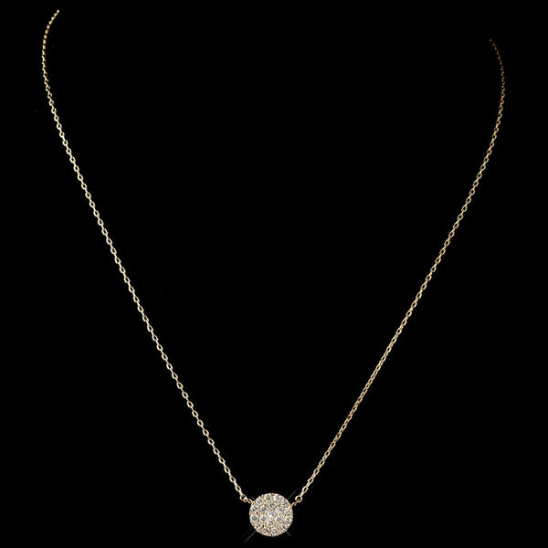 Gold Clear CZ Crystal Pave Round Circle Pendent Necklace