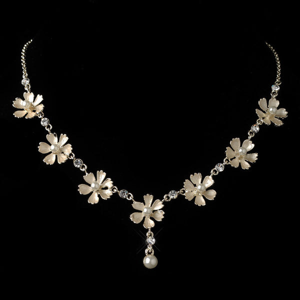 Gold Champagne Pearl Flower Necklace 4838