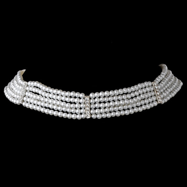 5 Row Choker Pearl Necklace N 602 Silver Ivory