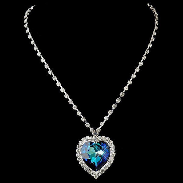 "Silver Blue Crystal Heart of the Ocean """"Titanic"""" Inspired Heart Necklace 71245"