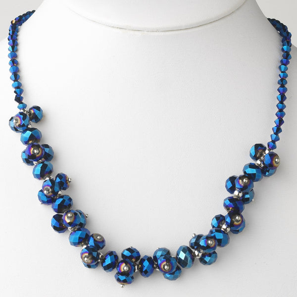 Royal Blue Flower Necklace 7617
