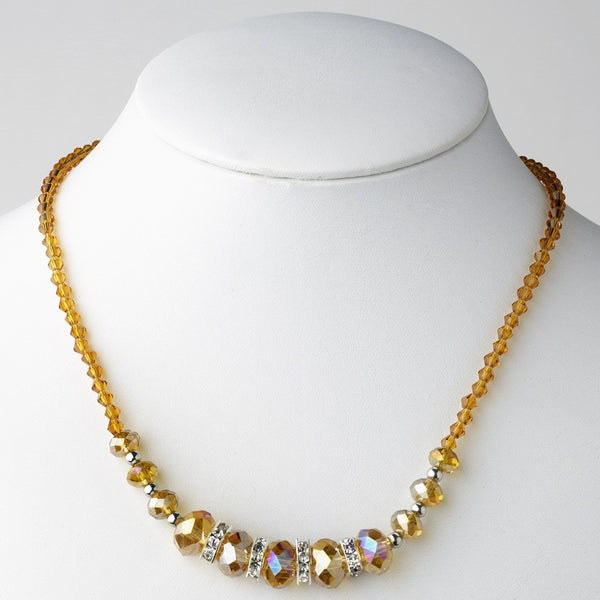 * Light Topaz Silver Clear Necklace 7618