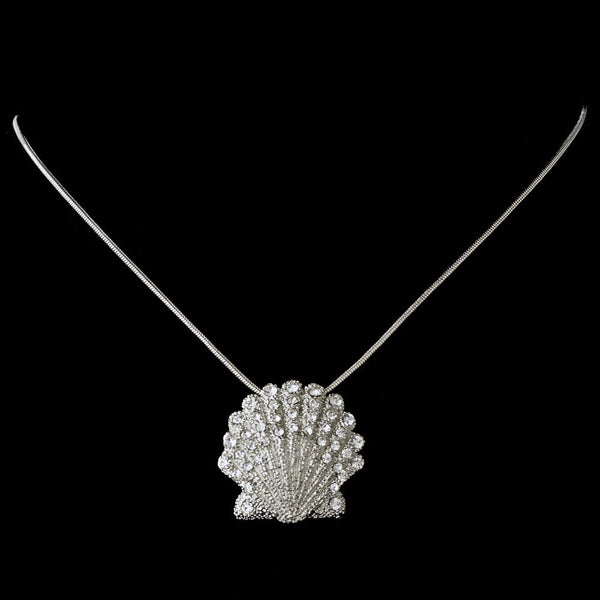 Silver Clear Sea Shell Necklace 7800