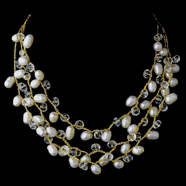 Gold Silk White Pearl Clear Crystal Necklace 7829
