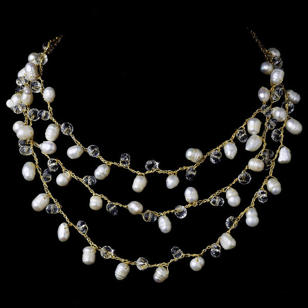 Gold Pearl Clear Necklace 7832