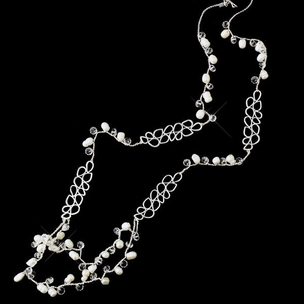 Silver Silk w/ Leaves, Pearls, and Clear Crystals Necklace 7834