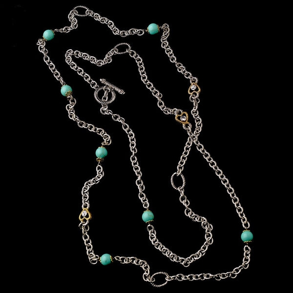 Silver Aquamarine 60″ Necklace w/ Gold Hearts 7986