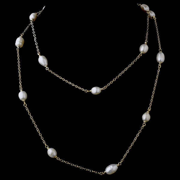 Gold Pearl 36″ Necklace 7992