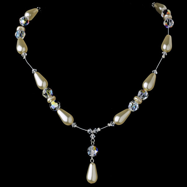 * Elegant Silver Ivory Pearl Necklace N 8141