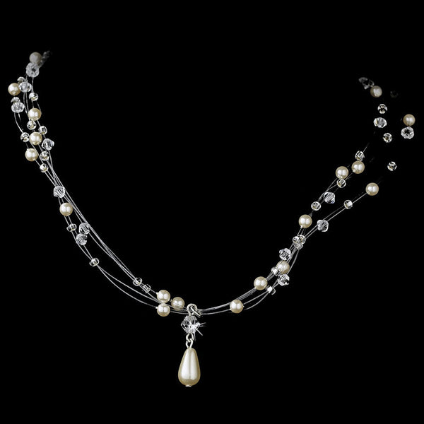 Wonderful Silver Pearl & AB Crystal Illusion Necklace 8146