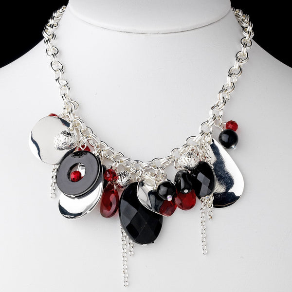 * Black & Red Stone Necklace 8304