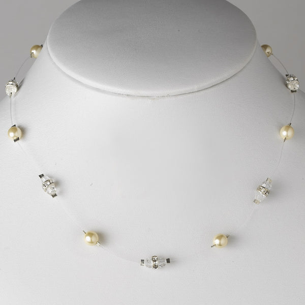 Ivory/White AB Austrian Crystal Necklace 8370