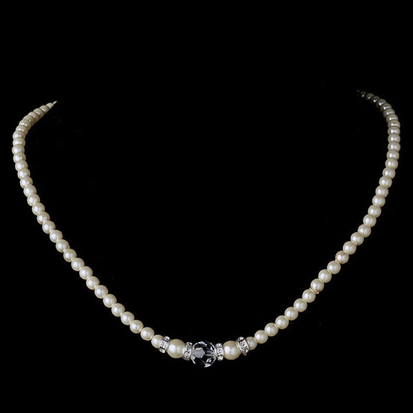 Ivory/White Silver with Clear Crystal Necklace 8376