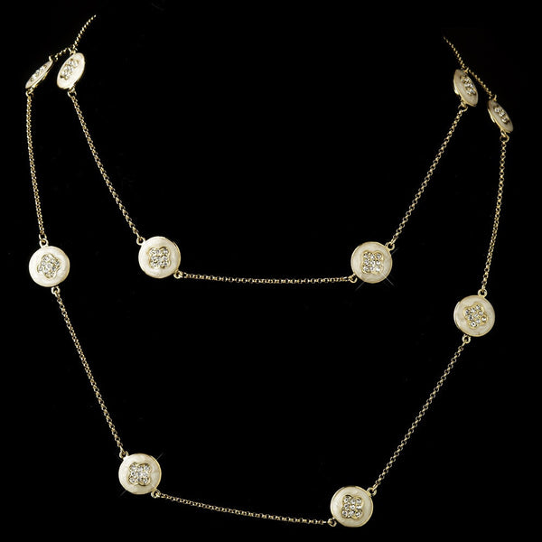 Ivory Stone with Gold and Crystal Necklace 8728