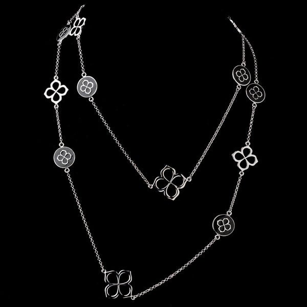 Silver and Black Chained Necklace 8729