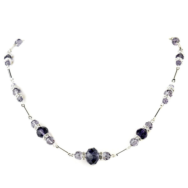 Silver Amethyst Crystal & Rhinestone Necklace 8741
