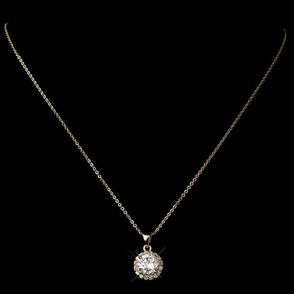 Gold Clear CZ Crystal Pave Pendant Necklace 9398