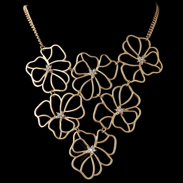 Gold Matte Floral Fashion Necklace 9503 w/ Rhinestones