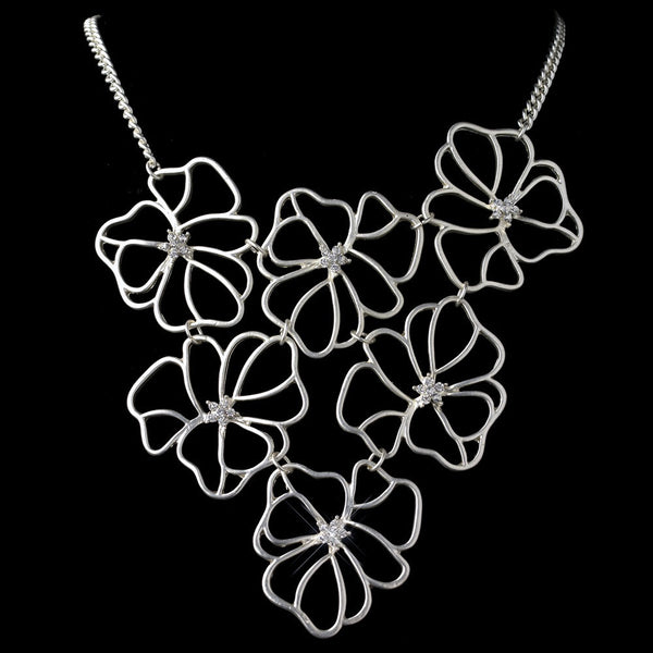 Silver Matte Floral Fashion Necklace 9503 w/ Rhinestones