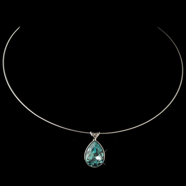 Silver Aqua Swarovski Crystal On Wire Teardrop Pendant Necklace 9604