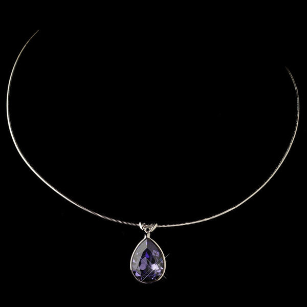 Silver Tanzanite Swarovski Crystal On Wire Teardrop Pendant Necklace 9604