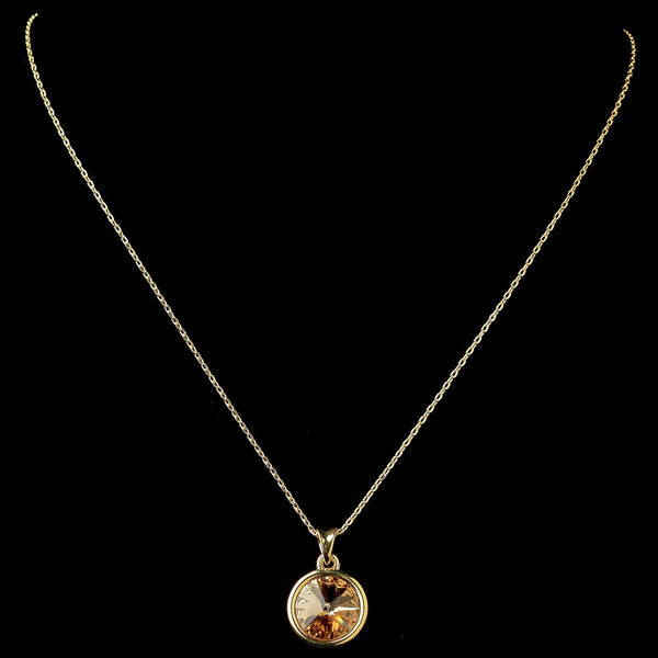 Gold Topaz Round Pendant Necklace