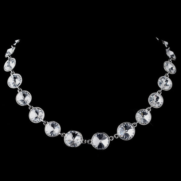 Silver Clear Swarovski Crystal Round Solitaire Necklace 9607