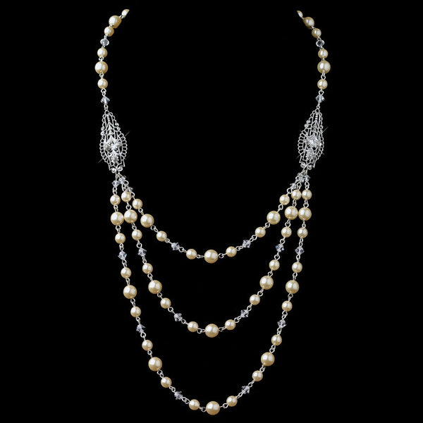 Silver Ivory 3 Row Pearl Back Dangle Necklace 9716