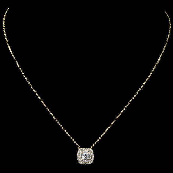 Gold Clear CZ Cushion Pendant Necklace 9790
