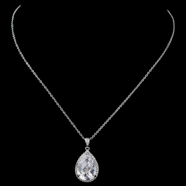 Rhodium Large CZ Teardrop Pendant Necklace 9850