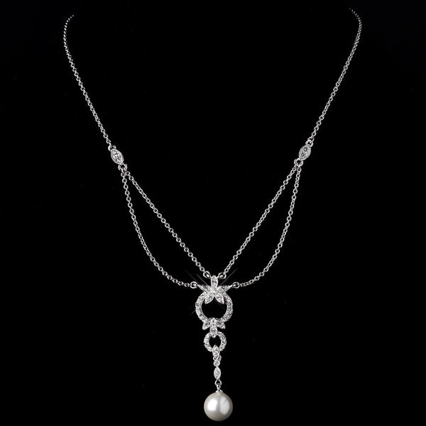 Antique Silver Ivory Pearl Drop & Clear Crystal Necklace 9956