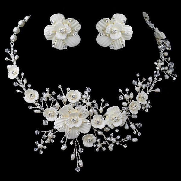 Beautiful Silver & Gold Crystal, Porcelain & Pearl Bridal Jewelry Set 1015