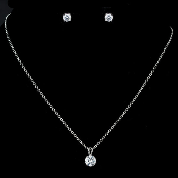 Silver Clear Round Pendent Drop Necklace & Earrings Jewelry Set 13164