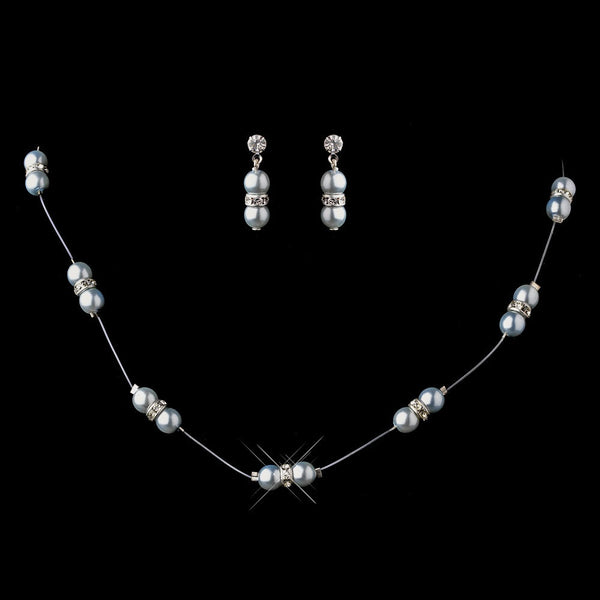 Necklace Earring Set 206 Light Blue