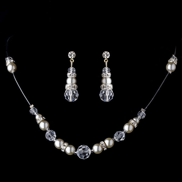 * Silver Swarovski Crystal & Pearl Necklace & Earring Set 230