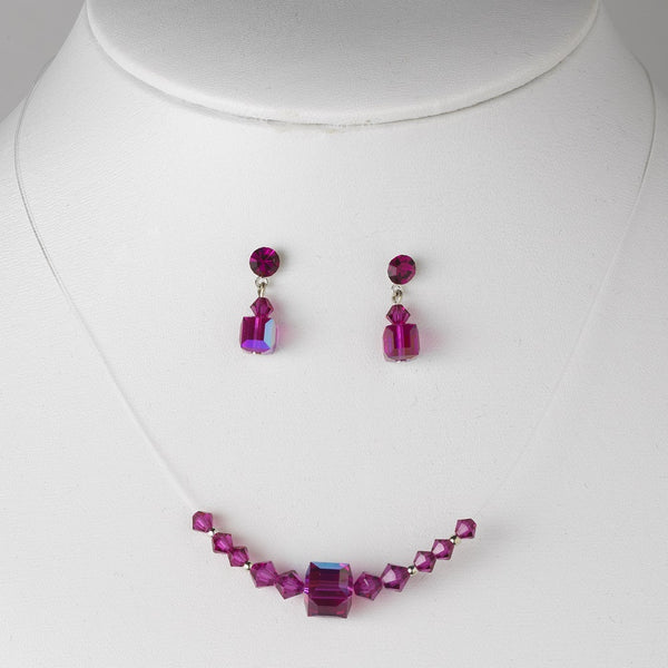 * Necklace Earring Set 233 Fuchsia