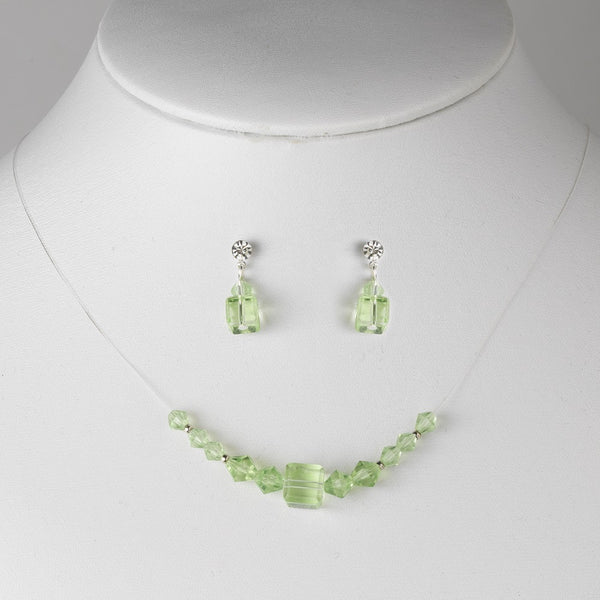 * Green Illusion Necklace & Earring Set NE 233