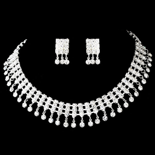 Necklace Earring Set 3095 Silver Clear