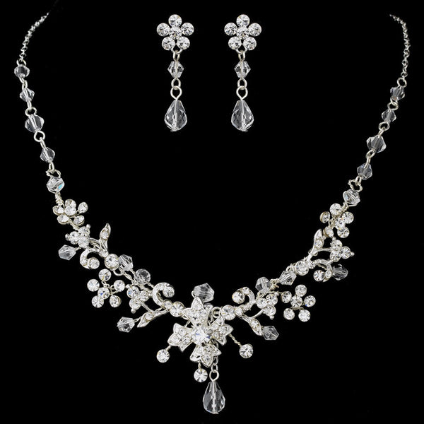 Silver Clear Necklace Earring Set 5461