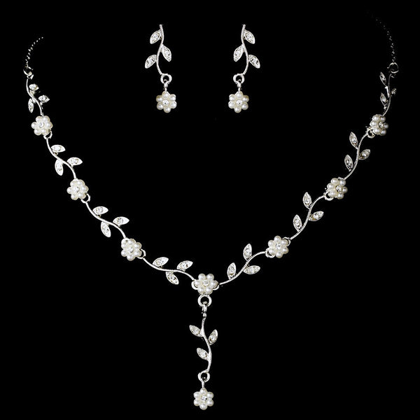 Silver White Necklace Earring Set 70863