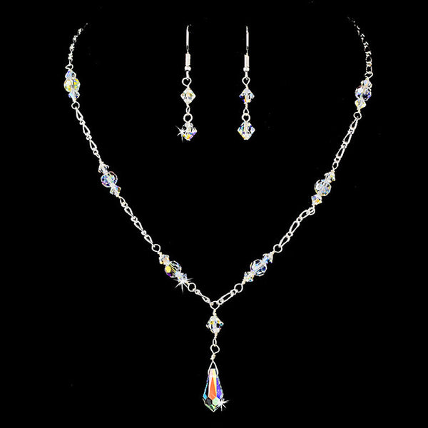 Necklace Earring Set 7172 Silver AB