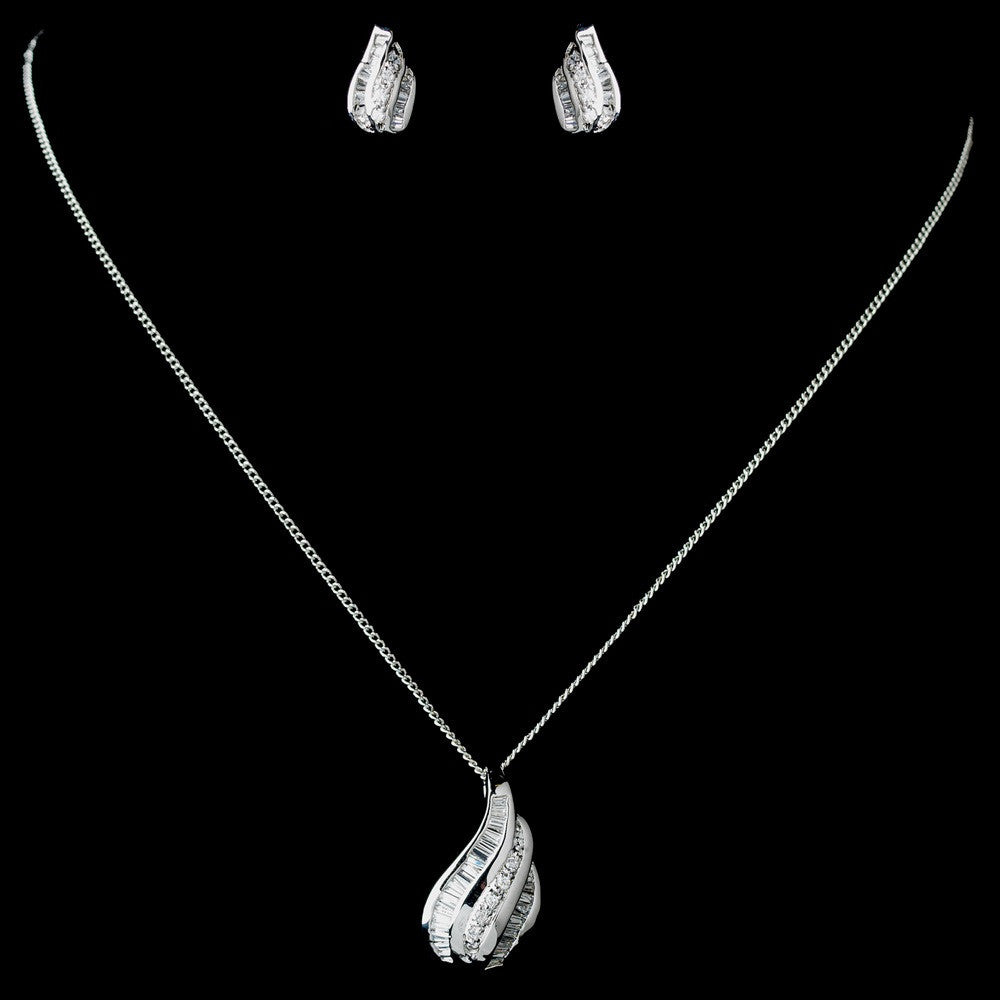 Antique Rhodium Silver Clear CZ Crystal Baguette Pendent Necklace & Earrings Jewelry Set 7753