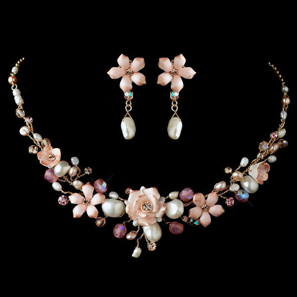 Gold Rum Pink Porcelain Floral Necklace Earrings Set 8142