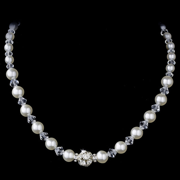 Pearl & Swarovski Crystal Bead Necklace 815