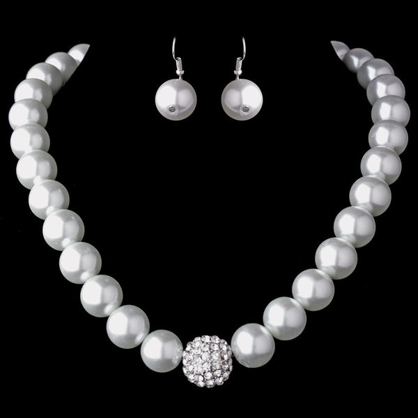 Silver Clear Crystal and Pearl Necklace Earring Set 8545 (White or Ivory)