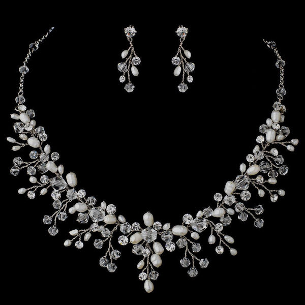 Rhodium Clear Swarovski Crystal Bead & Freshwater Pearl Floral Vine Jewelry Set 9800
