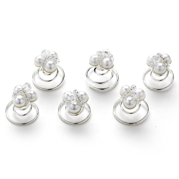 6 Chic Silver Clear Crystal Bead & White Pearl Twist-Ins 278