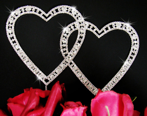 Vintage Swarovski Crystal Double Heart Toppers
